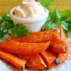 "Baked Yam Fries with Dip | ""Toss the yam wedges with olive oil and sea salt in a zip lock bag."""