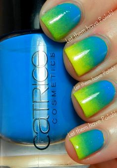 Ombre Yellow/Blue Nails