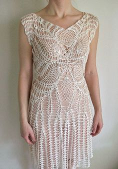 size small hand made crochet wedding dress by CrochetByMel on Etsy