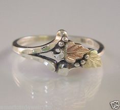 Sterling Silver Black Hills Gold Ring with 12kt Leaves in Rose & Green Gold