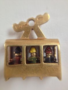 Vintage 14K Yellow Gold Cable Car Charm