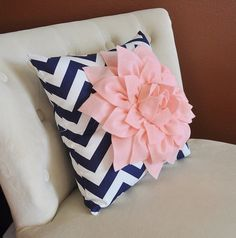 Light Pink Dahlia on Navy and White Zigzag Pillow by bedbuggs, $35.00