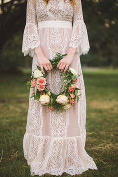 Stunning Vintage Hippie Wedding Gown Flower Child | Retro Wedding | 1960s Bohemian Wedding Dress | 1970s Boho White Lace | Ivory Bridal | Bride Flower Crown | Bell Sleeves | Maxi