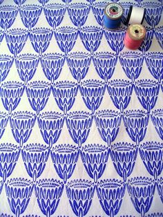King Protea / Royal Blue on Natural / Henri Kuikens block printed textiles