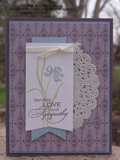 Pretty Sympathy Card stamp sets, sympathy cards, lisa martz, paper doilies, ribbon, stampin, ccmc253 sympathi, sympathi card, paper crafts