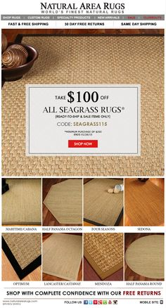 SEAGRASS RUGS SALE!