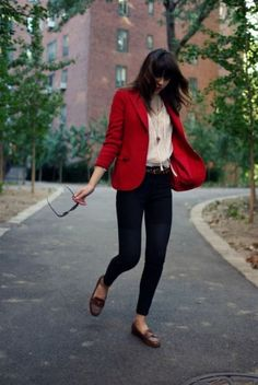 Deep red blazer + White blouse + blue skinies + brown flats