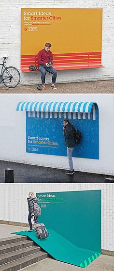 "IBM Smarter Cities #campaign. Ogilvy Mather, France. Kaan said ""This one is an IBM smart cities campaign product/ad. It is great because it is intelligently complementing the ad with the functionality of the design, so perfectly that the audience really gets the idea of the ""Smarter Cities"" out of this design."" #city #advertising #color #usefull"