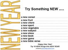 New Year Scavenger Hunt - try new things challenge