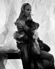 Natasha Poly Craig McDean   fashion   editorial   back stage   smoking   fur   sheer   curtain  