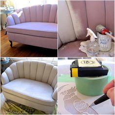 stencil furnitur, chalk paint upholstery, paint upholsteri, painted upholstry, chalk painted upholstery