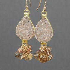 Druzy and Champagne Quartz  Dangle Earrings, Druzy Earrings by Agusha, Champagne Gemstone Earrings on Etsy, $125.00