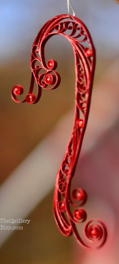 Handmade Quilled Red Candy Cane Christmas Ornament or Decoration