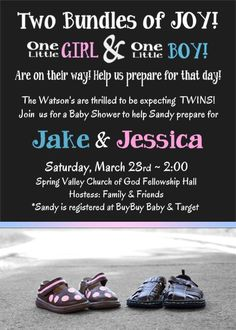 BOY and GIRL TWIN Baby Shower Invitation by WilsonPhotoAndDesign, $15.00