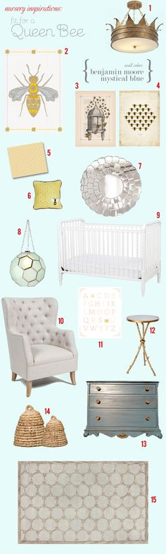 The Queen Bee's nursery inspiration board...what about this as a little girl's room?