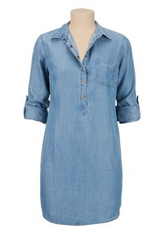 roll sleeve chambray shirtdress (original price, $44) available at #Maurices