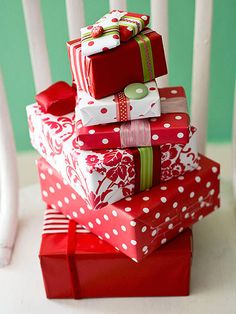 When wrapping gifts this year, embrace the look of fabric! More ideas: http://www.bhg.com/christmas/crafts/paper-fabric-christmas-crafts-decorations/