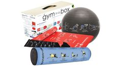Gym in a Box with exercises printed on each item