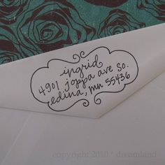 I love these address stamps by Lettergirl on Etsy