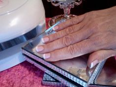 French Manicure using MagicManicure gel polish on the nails (colour shades used are 'strawberry milkshake' as the base colour & 'snow white' for the tips)