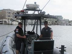 With the goal of promoting safety and common courtesy, police officers John Porecca, at right, and Michael Kebziora patrol Ocean City's waterfront.