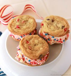 Patriotic Ice Cream Sandwich by www.whatscookingwithruthie.com ice cream sandwiches, summer desserts, cooki
