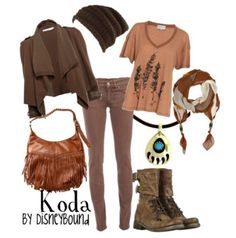 disney outfits, disney inspired outfits, brown boots, disney bound, disneybound, koda, brother bear, disney characters, disney fashion