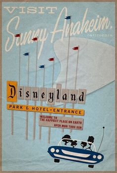 vintage posters, vintage disneyland, disneyland poster, disney vacations, travel tips