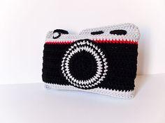 Crochet Camera Pillow by peanutbutterdynamite on Etsy