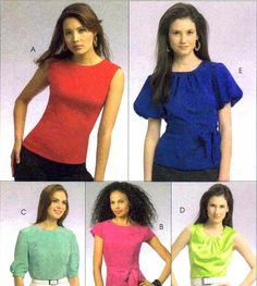 Womens Tops Belt Pattern McCalls 5661 Misses Sewing by patternshop, $7.99