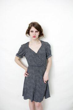 Vintage dress / 80s does 40s black dotted summer dress / by nemres, $36.00