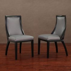 Park Avenue Black Croco/ Charcoal Leather Dining Chair (Set of 2)   Overstock.com