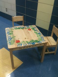 I did this with my pre-school class. I also painted the sun and moon on the seats of the chairs and all the things the caterpillar ate. Really brought it together along with the book.