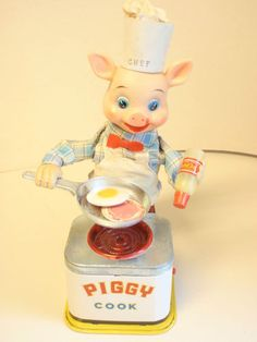 Piggy Cook Yone Japan Battery Operated Tin Toy | eBay