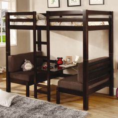 Loft over seating-with-table (like RV)  Bunks Twin Over Twin Convertible Loft Bed