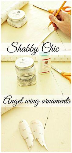 Shabby chic angel wing ornament. #debbiedoos