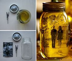 Make your own wedding centerpieces by placing black and white photos into vegetable oil-filled mason jars. The oil preserves the photograph and gives it an aged yellowing effect. Add a sprig of dried lavender to make it smell nice.