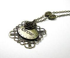 Antiqued Brass Flower Necklace Inspirational by jewelrybyNaLa