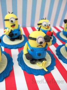 Minion Inspired Cupcake Toppers - Despicable Me Fondant Cake and Cupcake Toppers - 6 Pcs via Etsy