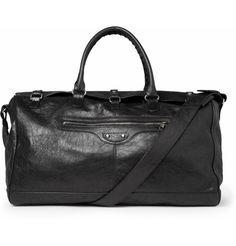 Balenciaga: Creased-Leather Holdall Bag
