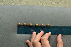 Nailhead Headboard, tricky but not impossible! decorative tacks, upholstery tacks, decorative nails