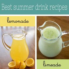 The best summer drinks recipes for homemade lemonade and limeade from overthebigmoon.com