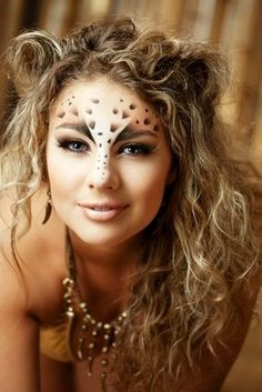 face makeup, ear, face paintings, costume ideas, halloween makeup, makeup ideas, leopards, hair, party makeup