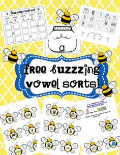 super cute vowel sorts printables!