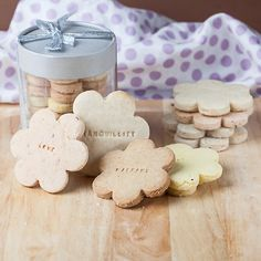 shortbread cookies with in a variety of flavors with inspirational messages: joy is lemon, peace is lavender, harmony is brown sugar pecan, love is pistachio rose, and tranquility is traditional shortbread.