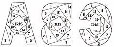 Complete Alphabet.  Free Iris folding patterns.