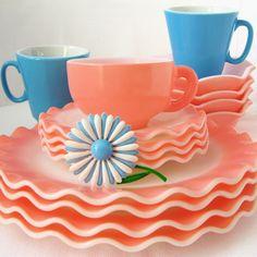 Vintage Pink & Blue Dishes