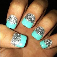 french manicures, color, tiffany blue, mint, glitter nails, french tips, prom, aqua, nail ideas