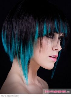 black with blue streaks hair coloring