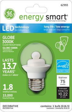GE Energy Smart 10W Replacement (1.8W) Globe G16.5 LED Bulb (Warm, Clear, Energy Star) $19.95